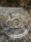 Vintage Glass Divided Relish Tray 11 inches clear floral 5 section