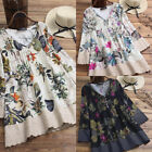 US Women Ladies Mini Dress Vintage Long Sleeve Tunic Floral Plus Size Plain Tops