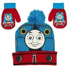 Thomas the Train Cuffed Pom Beanie Hat and Matching Mitten Gloves Set-Brand New!