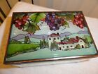 Tuscan  Grapes hand painted art glass Mirrored Box Joan Baker 150 keepsake