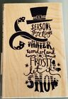 STAMPABILITIES rubber stamp SUBWAY SNOWMAN wood mounted Christmas Winter