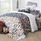 SOUTHWESTERN FEATHERS 3pc Full Queen QUILT SET  WESTERN NATIVE DREAM RED BLUE