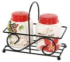 Be Merry Best Wishes Holiday Sentiments Salt and Pepper Shaker Set