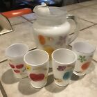 Bartlett Collins Snow Orchard Gay Fad Pitcher, 4 Glasses, 9