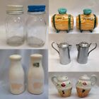 MANY CHOICES CONTAINER SALT PEPPER SHAKERS Vtg Bottle Pot Cruet Jar Barrel Mug