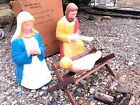 OLD POLORON BLOW MOLD CHRISTMAS NATIVITY MARY JOSEPH JESUS  CRADLE EX COND