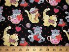 Christmas Kitty Cat Valentine Day Kitten Hearts Cup Pet Black Cotton Fabric
