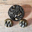 Antique Egyptian Chariot and Chased Brass Cut Steel Buttons