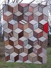 ~ Piece of  Beautiful Old Tumbling Blocks Quilt Top ~