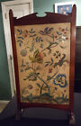 Antique Fire Place Screen Wood and glass with embrodery floral and animal desgin