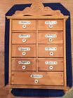 Antique Wooden Spice Cabinet German 9 Drawers Porcelain Knobs Nameplates