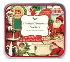 Cavallini  Co Merry Christmas Vintage Style Santa Stickers In Gift Tin NEW NIP