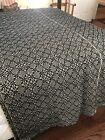 Fabulous Early Prim Antique 19th c Linen Wool Coverlet Indigo Approx 92X86