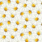 Fabric Flowers Daisy Daisies Morning Glories on White Cotton by the 1 4 yard