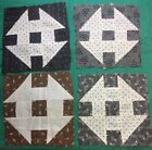 Vintage ANTIQUE Cotton Late 1800s Churn Dash Quilt Blocks 8 Hand Pc'd