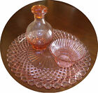 Pink Pressed Glass Antique Set Including Round Dish Carafe Cup * Circa 1940 *