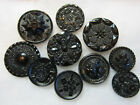 BEAUTIFUL LOT VICTORIAN BLACK GLASS BUTTONS/ MED TO LARGE SIZE