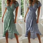 Women's Casual Swing Dress Short Sleeve Solid Irregular A Lined Midi Maxi Dress