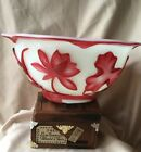 Antique Chinese Carved Peking GLass Overlay Red Bowl  Water Lily