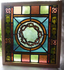 Antique Church Stained Glass Window Architectural Salvage Crown of Thorns  W6