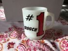 Unique Vintage Anchor Hocking Milk Glass #1 Grouch rare mug cup fire king NICE