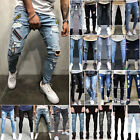 Men Ripped Biker Skinny Jeans Frayed Destroyed Trousers Casual Denim Pants S 4XL