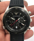 Emporio Armani Watch AR0547 Black and Stainless Chronograph Date Men's Working