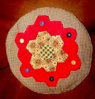Lovely Primitive Handmade From Vintage Quilt Table Round 13 1/2