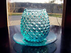 ViNTaGe AQuA BLuE HobnaiL ArT GLaSs Open Sugar Bowl Jar Candle Holder Dish Plate