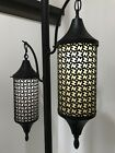 Mid Century Retro Modern Black Hanging Starburst Lantern Tension Pole Lamp