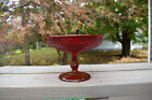 Vintage Ruby Red Pressed Glass Diamond Point Compote Dish
