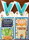 Premade Scrapbook Page SEWN Tags EmbellishSet of 2 Large Tooth Fairy