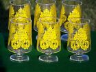 NOS Vintage Set 6 Clear Footed Pedestal Glasses Yellow Design Water Goblet 5