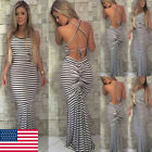 Plus Size Ladies Long Sleeve Backless Women Party Bodycon Maxi Dress Clothing