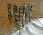 3 Vtg Mid-Century Turquoise Teal Aqua Gold Drinking Glasses Juice Beer Barware
