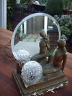 Rare Antique Chalkware Art Deco Lamp nude lady with mirror globe shade gold tone