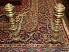 Beautiful Pair Period Early 1800s Era Solid Brass Fireplace Dogs And Irons Worn