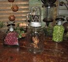New Primitive Antique Vtg Style Mason Butter Churn Glass Jar Nov 30th 1858 Crank