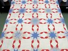 Vintage Hand Sewn Feed Sack PATRIOTIC STAR Quilt TOP, Red White Blue; 86