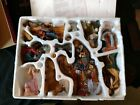 Kirkland Christmas 12pc Porcelain Nativity Set w Wood Creche Hand Painted