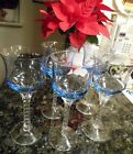 5 Vintage Champagne / Wine Glasses, Blue / Clear Twisted Stems 7