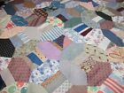 VINTAGE HAND SEWN  PATCHWORK QUILT TOP, 52X77 INCHES, OLD FABRIC