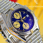 BREITLING CHRONOMAT 2 TONE 18K/SS BEAUTIFUL RARE BLUE DIAL MENS WATCH B13050