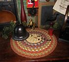 Primitive Vtg Style Country Farmhouse BRAIDED Candle Trivet LARGE ROUND MAT #300