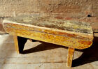 PRIMITIVE FOOT STOOL Original Old Mustard Paint Decorated Antique Cricket Bench