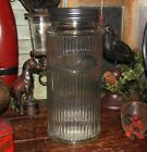 Primitive Antique Vtg Style Canister HOOSIER Ribbed Glass SUGAR Jar w/ Black Lid