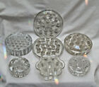 10 Lot Clear Glass Flower Floral Vase FROGS Dome Round Petal SHAPE Pics 1  2