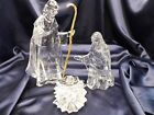 CLEAR ACRYLIC HOLY FAMILY NATIVITY CHRISTMAS THREE PIECE IN BOX
