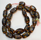 Beads Lampwork Glass Brown Vintage Oval Beads 25mm 28mm