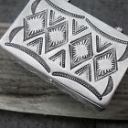Vtg Old Pawn Navajo Hand Stamped Pattern Sterling Silver Pill Poison Snuff Box